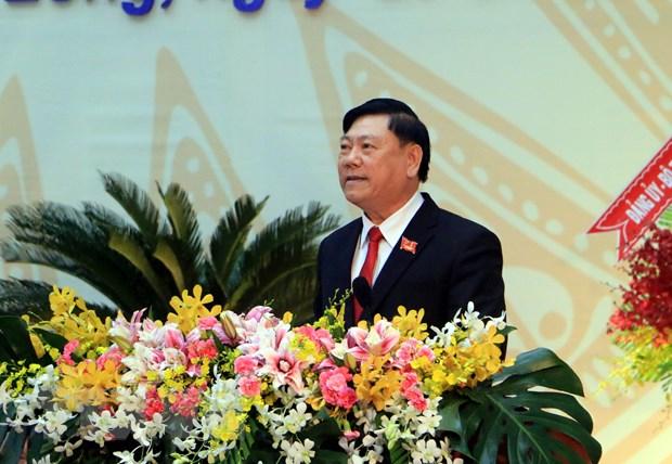 Ủy viên Trung ương Đảng, Bí thư Tỉnh ủy Vĩnh Long Trần Văn Rón phát biểu khai mạc đại hội. Ảnh: Phạm Minh Tuấn/TTXVN