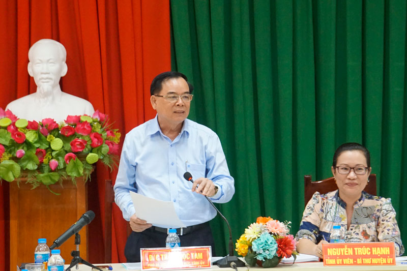 Phó bí thư Thường trực Tỉnh ủy Trần Ngọc Tam phát biểu tại buổi làm việc.