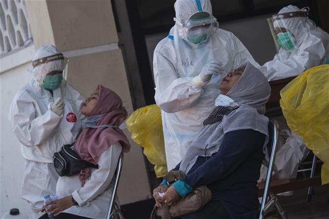 Nhân viên y tế lấy mẫu xét nghiệm COVID-19 tại Surabaya, Indonesia. Ảnh: AFP/TTXVN