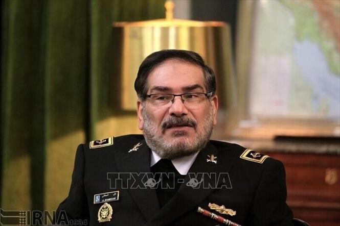 Thư ký Hội đồng An ninh quốc gia tối cao Iran Ali Shamkhani tại Tehran. Ảnh: IRNA/TTXVN