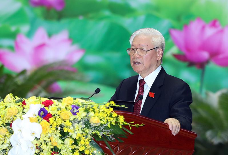 Tổng Bí thư, Chủ tịch nước Nguyễn Phú Trọng, Bí thư Quân ủy Trung ương phát biểu chỉ đạo Đại hội.