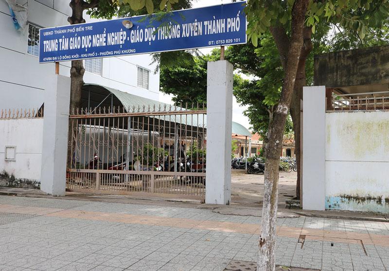 Trung tâm GDNN - GDTX nơi xảy ra sự việc.