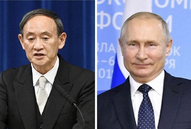 Thủ tướng Nhật Bản Yoshihide Suga (trái) đã có cuộc điện đàm với Tổng thống Nga Vladimir Putin. (Nguồn: Kyodo)
