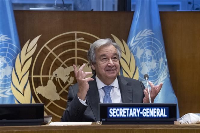 """Tổng thư ký LHQ Antonio Guterres phát biểu tại """"Hội nghị cấp cao về Tài chính cho Phát triển trong kỷ nguyên COVID-19 và sau đó"""" ở New York, Mỹ ngày 29-9-2020. Ảnh: THX/TTXVN"""
