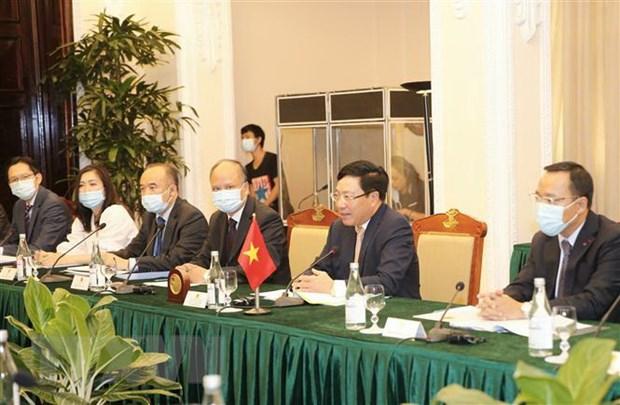 Phó thủ tướng, Bộ trưởng Ngoại giao Phạm Bình Minh tại buổi hội đàm. Ảnh: Doãn Tấn/TTXVN
