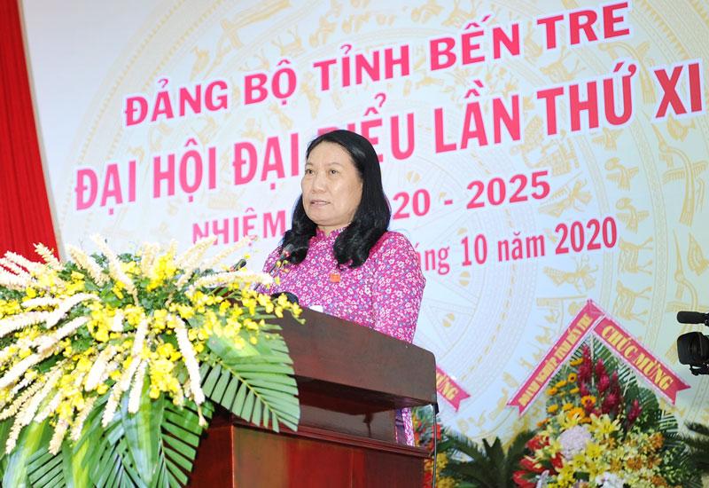 Giám đốc Sở Lao động - Thương binh và Xã hội Nguyễn Thị Bé Mười phát biểu tại đại hội. Ảnh: CTV