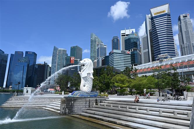 Quang cảnh công viên Sư tử biển Merlion park tại Singapore, ngày 15-5-2020. Ảnh: AFP/ TTXVN