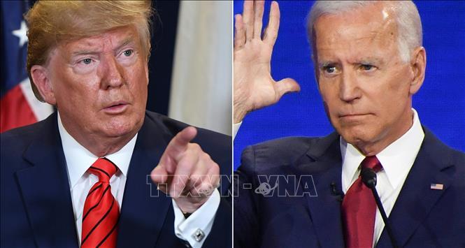 Tổng thống Mỹ Donald Trump (trái) và ứng viên tranh cử Tổng thống của đảng Dân chủ, cựu Phó Tổng thống Joe Biden. Ảnh: AFP/TTXVN