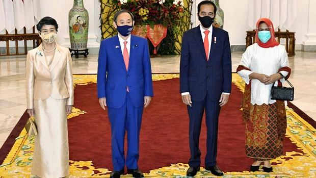 Tổng thống Indonesia Joko Widodo cùng phu nhân (phải) đón Thủ tướng Nhật Bản Suga Yoshihide và phu nhân. (Nguồn: Kyodo)