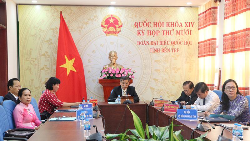 Chủ tịch UBND tỉnh, Trưởng Đoàn đại biểu Quốc hội tỉnh Bến Tre Cao Văn Trọng tham dự Kỳ họp thứ 10 tại điểm cầu Bến Tre.