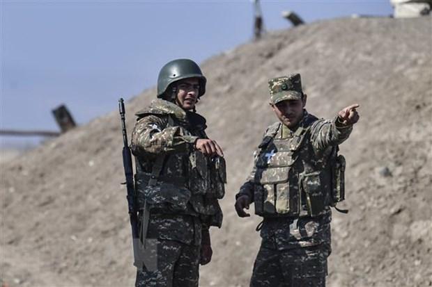 Binh sỹ Armenia được triển khai trong cuộc xung đột với lực lượng Azerbaijan tại khu vực tranh chấp Nagorny-Karabakh ngày 18-10-2020. (Ảnh: AFP/TTXVN)