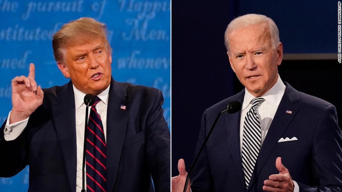 Hai ứng cử viên Donald Trump và Joe Biden sáng 23-10 theo giờ Hà Nội sẽ có phiên tranh luận cuối cùng trước thềm Ngày bầu cử 3-11. Ảnh: AP