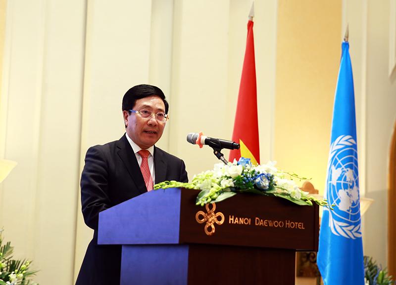 Phó thủ tướng, Bộ trưởng Ngoại giao Phạm Bình Minh phát biểu tại lễ kỷ niệm 75 năm thành lập LHQ. Ảnh: VGP