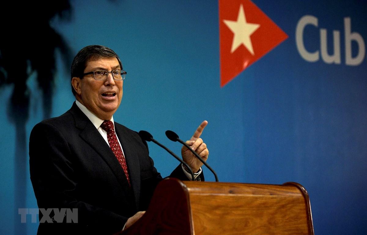 Ngoại trưởng Cuba Bruno Rodriguez phát biểu tại cuộc họp báo ở thủ đô La Habana ngày 22-10-2020. (Ảnh: AFP/TTXVN)