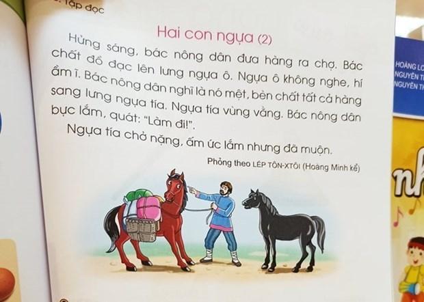 Truyện Hai con ngựa, trong sách Cánh Diều sẽ được chỉnh sửa. Ảnh: PM/Vietnam+