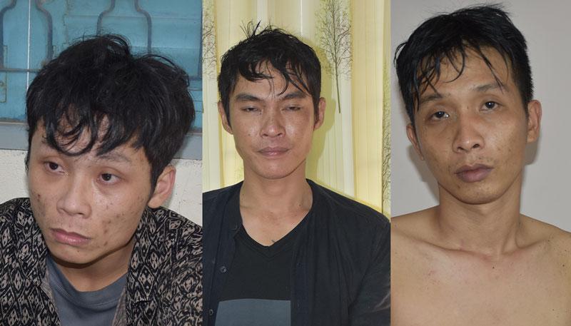 Ba đối tượng Được, Tuấn, Bình tại cơ quan Công an.