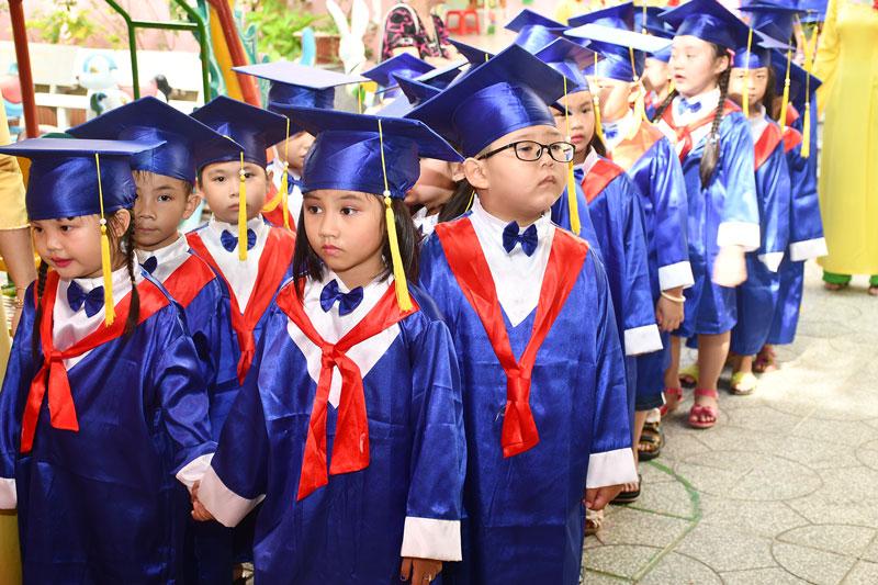 Các em Trường Mầm non Hoa Dừa (TP. Bến Tre). Ảnh: H. HIệp