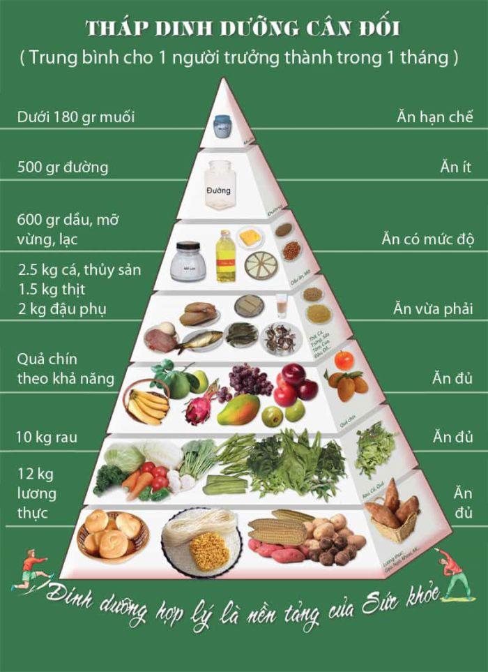 Tháp dinh dưỡng cân đối.