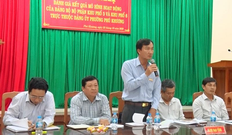 Phó ban Tổ chức Tỉnh ủy Trần Văn Thêm phát biểu buổi làm việc.