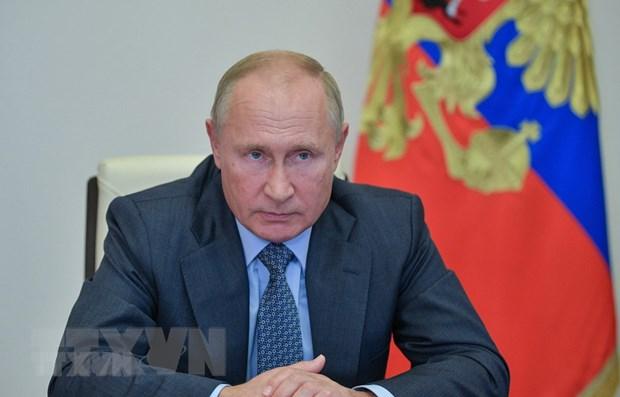 Tổng thống Nga Vladimir Putin tại cuộc họp trực tuyến ở Moskva, Nga. Ảnh: AFP/TTXVN