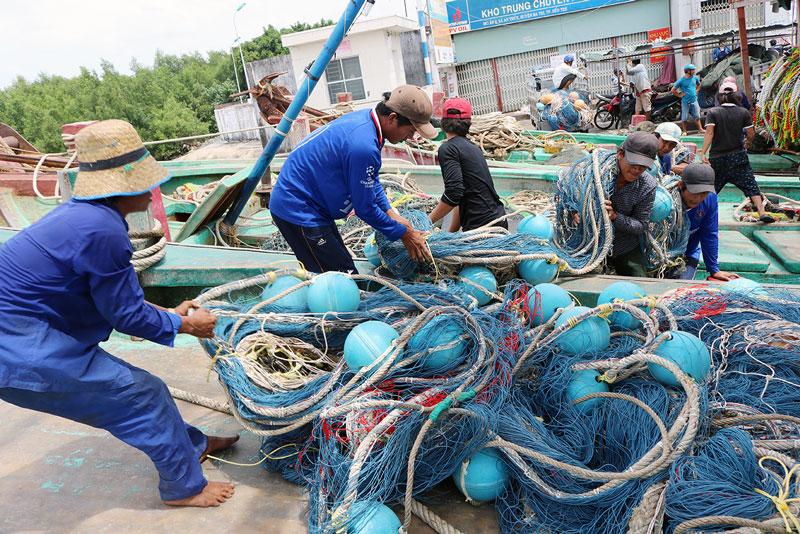 Hoạt động xuất nhập cảng của ngư dân Ba Tri.