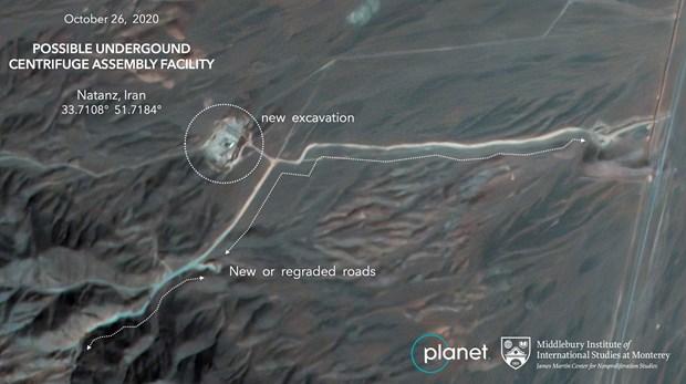 Ảnh vệ tinh tại khu vực Natanz. (Ảnh: AP)
