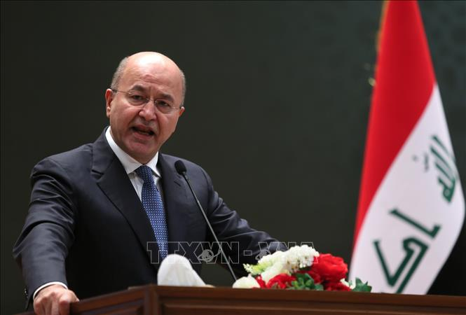 Tổng thống Iraq Barham Salih trong một bài phát biểu tại thủ đô Baghdad. Ảnh: AFP/TTXVN