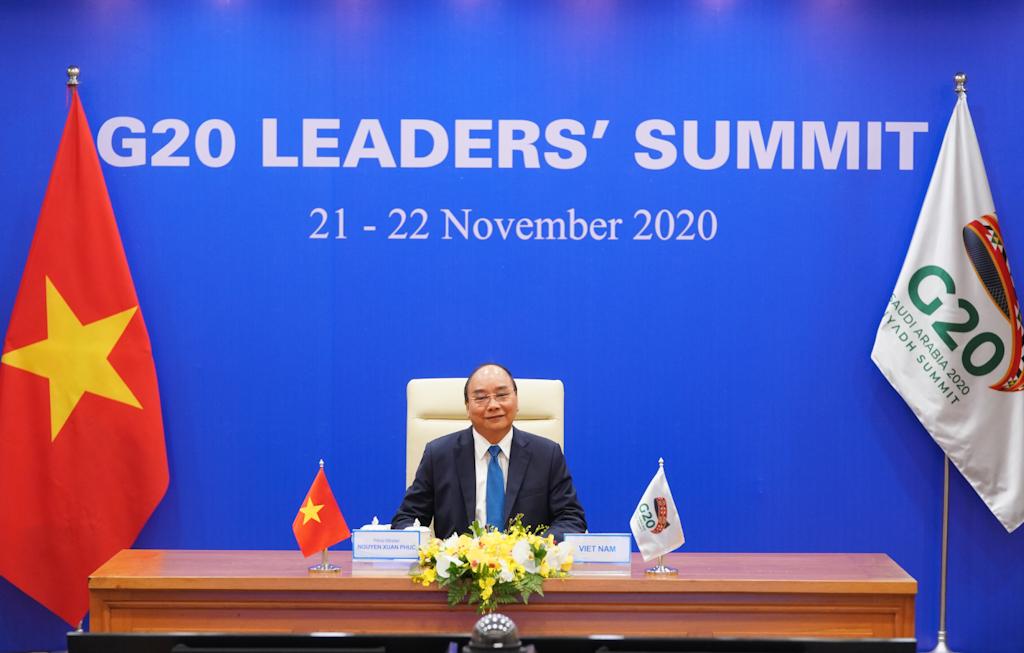 Thủ tướng Nguyễn Xuân Phúc dự và phát biểu tại Hội nghị Thượng đỉnh G20. Ảnh VGP/Quang Hiếu