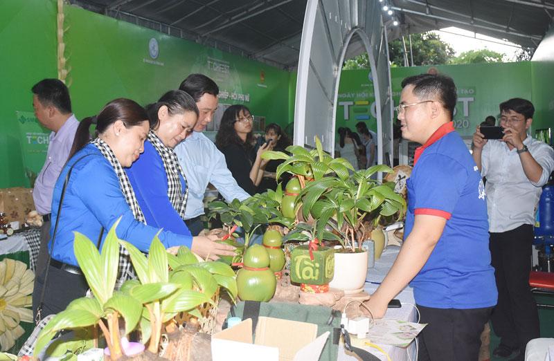 Đại biểu tham quan sản phẩm khởi nghiệp của tỉnh.