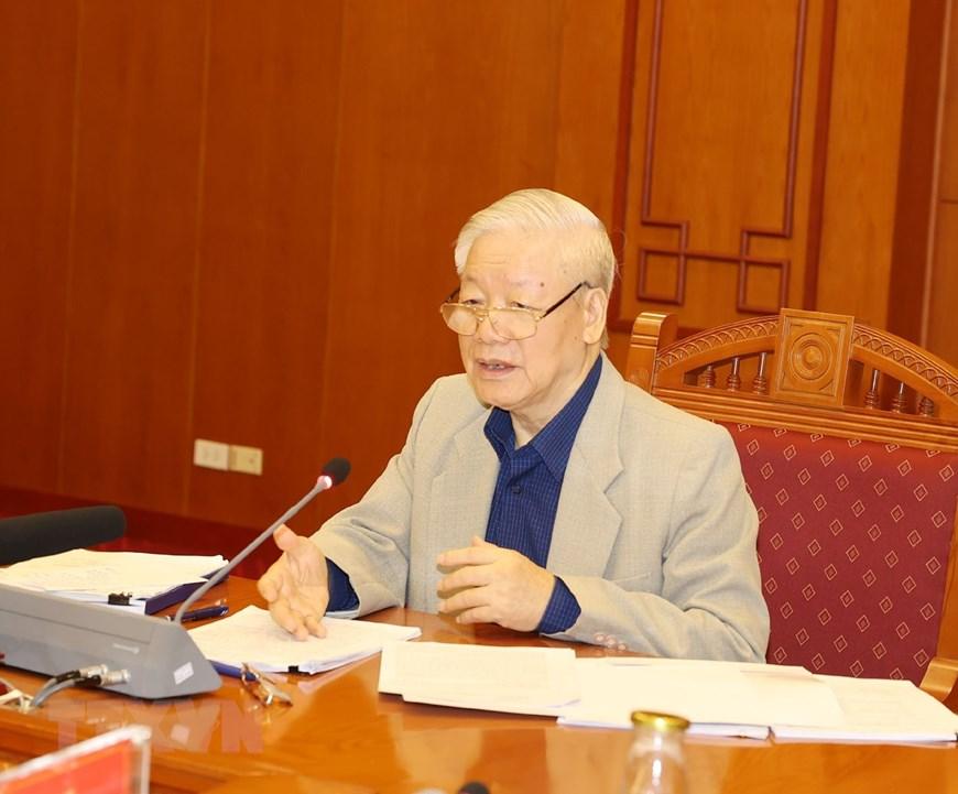 Tổng Bí thư, Chủ tịch nước Nguyễn Phú Trọng phát biểu tại phiên họp. Ảnh: VGP