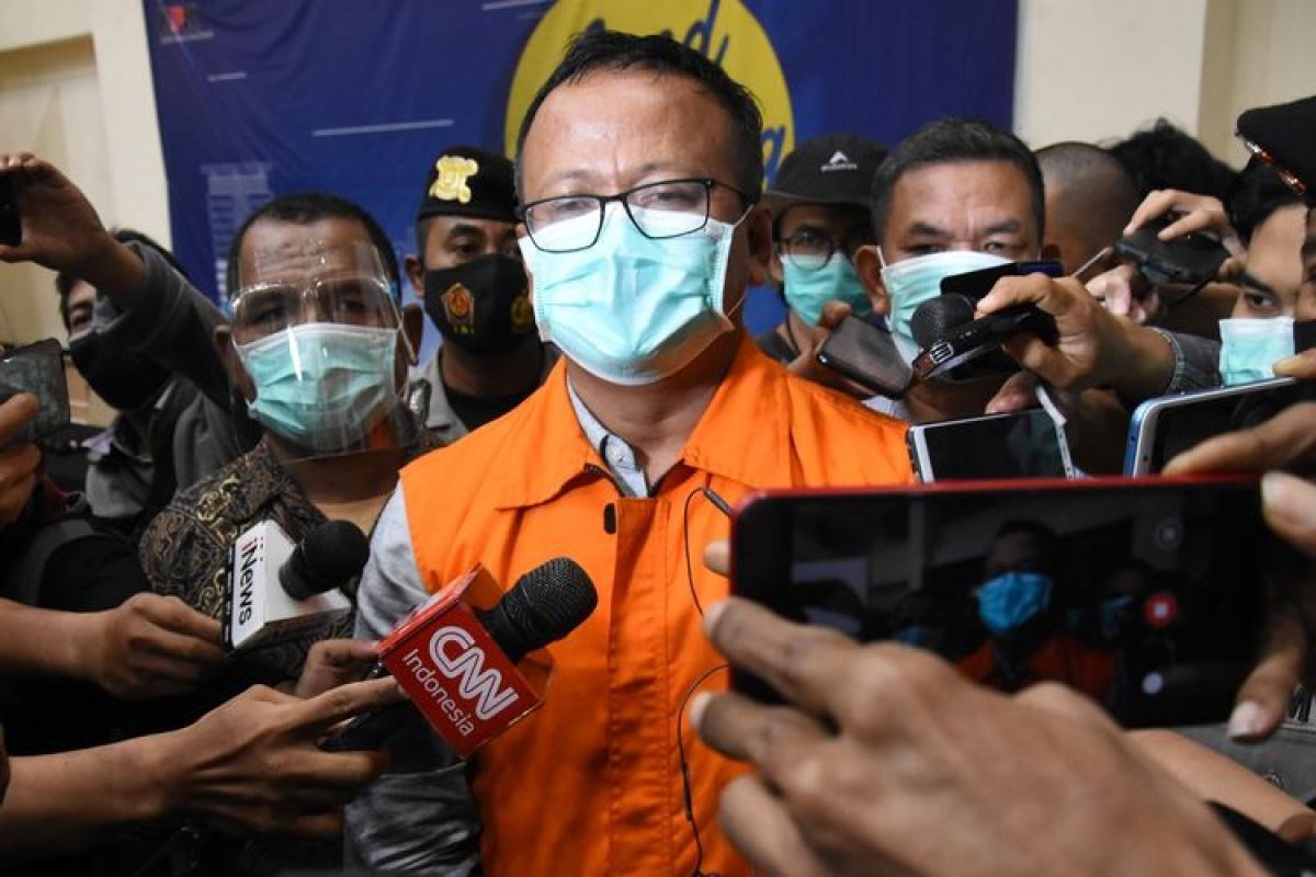 Bộ trưởng Biển và Nghề cá Indonesia, Edhy Prabowo từ chức sau khi bị bắt. Nguồn: Kompas.com