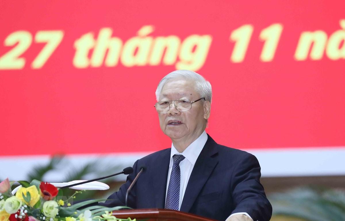 Tổng Bí thư, Chủ tịch nước Nguyễn Phú Trọng phát biểu chỉ đạo Hội nghị. Ảnh: Phương Hoa/TTXVN