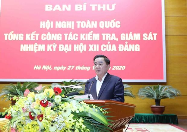 Đồng chí Trần Cẩm Tú, Bí thư Trung ương Đảng, Chủ nhiệm Ủy ban Kiểm tra Trung ương phát biểu tại hội nghị. Ảnh: Phương Hoa/TTXVN