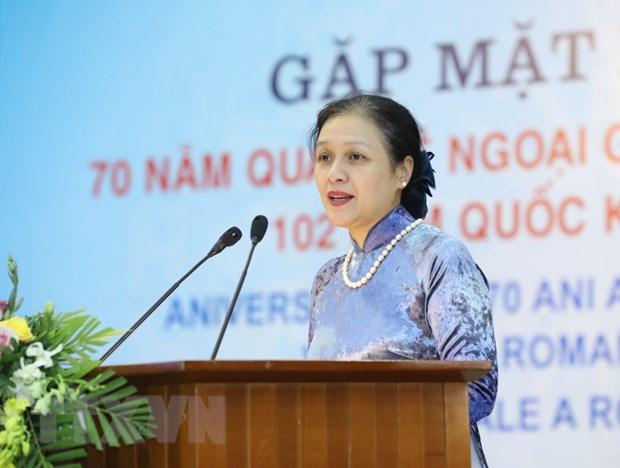 Chủ tịch Liên hiệp các tổ chức hữu nghị Việt Nam Nguyễn Phương Nga phát biểu. (Ảnh: Văn Điệp/TTXVN)