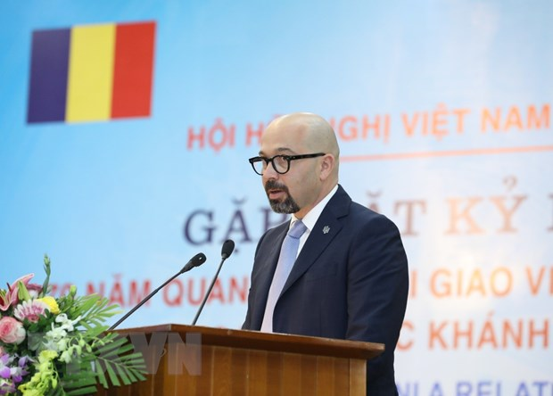 Ông Petrescu Razvan Victor Radu, lãnh sự Đại sứ quán Romania tại Việt Nam phát biểu. (Ảnh: Văn Điệp/TTXVN)
