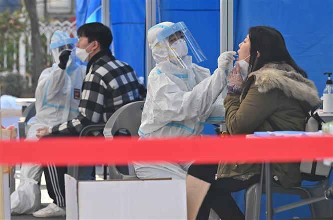 Nhân viên y tế lấy mẫu xét nghiệm COVID-19 cho người dân tại Seoul, Hàn Quốc ngày 27-11-2020. Ảnh: AFP/TTXVN