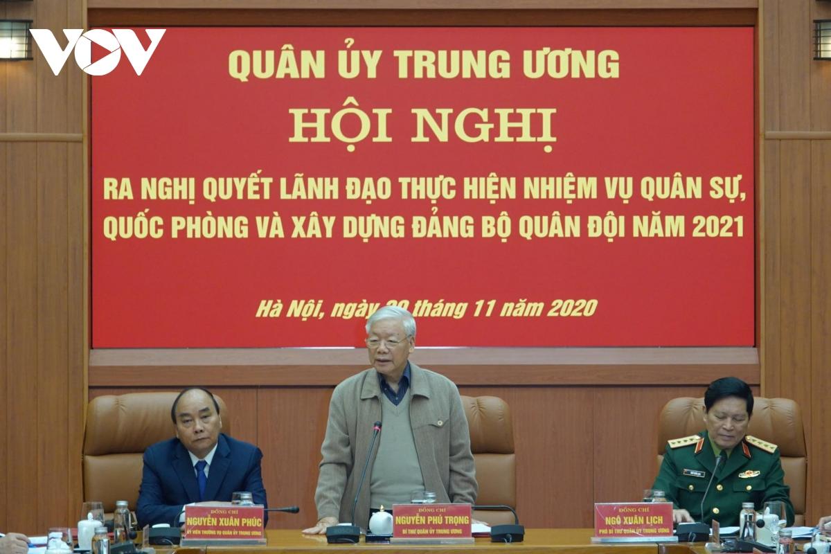 Tổng Bí thư, Chủ tịch nước Nguyễn Phú Trọng dự Hội nghị Quân ủy Trung ương.