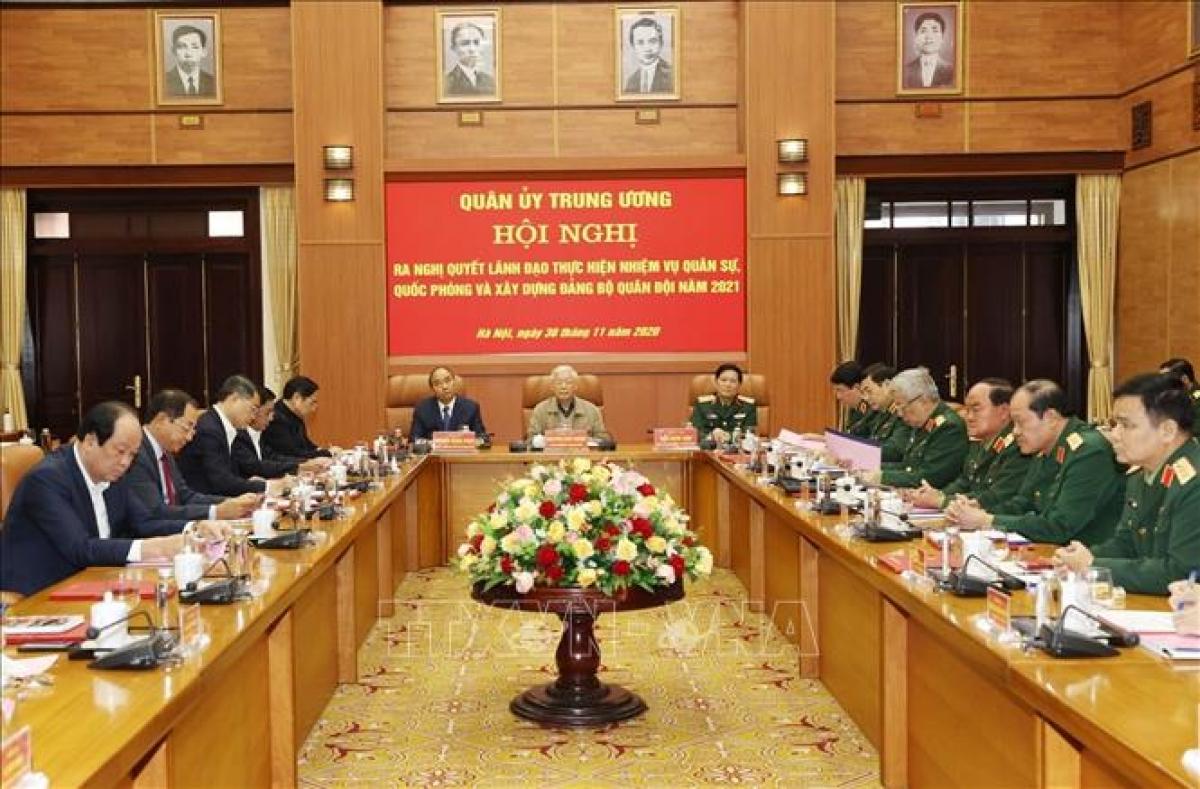 Tổng Bí thư, Chủ tịch nước Nguyễn Phú Trọng dự Hội nghị Quân ủy Trung ương. Ảnh: TTXVN