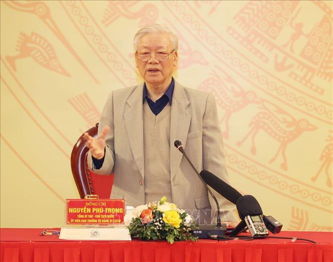 Tổng Bí thư, Chủ tịch nước Nguyễn Phú Trọng dự và phát biểu chỉ đạo Hội nghị đánh giá kết quả công tác năm 2020, bàn phương hướng, nhiệm vụ công tác trọng tâm năm 2021 của Đảng bộ Công an Trung ương. Ảnh TTXVN