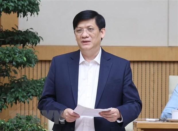 Bộ trưởng Bộ Y tế Nguyễn Thanh Long phát biểu tại cuộc họp. Ảnh: Thống Nhất/TTXVN