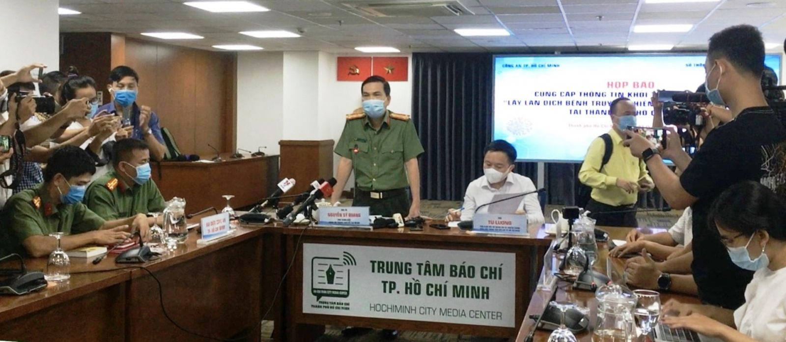 Ông Nguyễn Sỹ Quang, Phó Giám đốc Công an TPHCM phát biểu tại họp báo. Ảnh: VGP