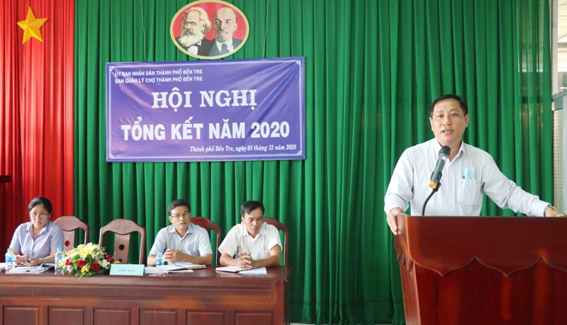 Phó chủ tịch UBND TP. Bến Tre Nguyễn Trúc Lâm phát biểu tại buổi tổng kết.