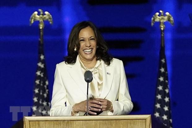 Bà Kamala Harris phát biểu tại Wilmington, bang Delaware. (Ảnh: AFP/TTXVN)