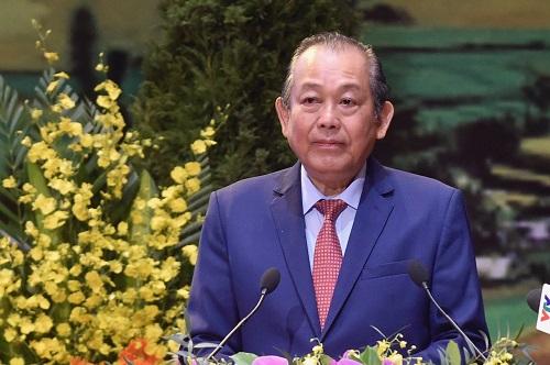 Phó thủ tướng Thường trực Chính phủ Trương Hòa Bình phát biểu tại Đại hội. Ảnh: VGP/Đoàn Bắc