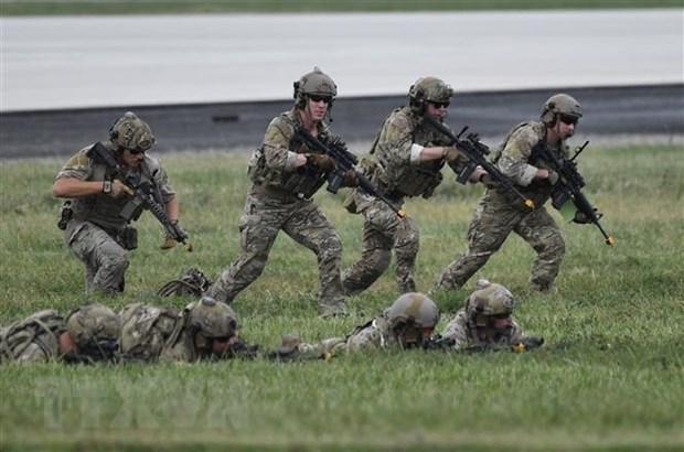 Binh sỹ Mỹ tham gia một buổi huấn luyện tại căn cứ không quân Osan ở thành phố Pyeongtaek, Hàn Quốc ngày 20-9-2019. (Nguồn: AFP/TTXVN)