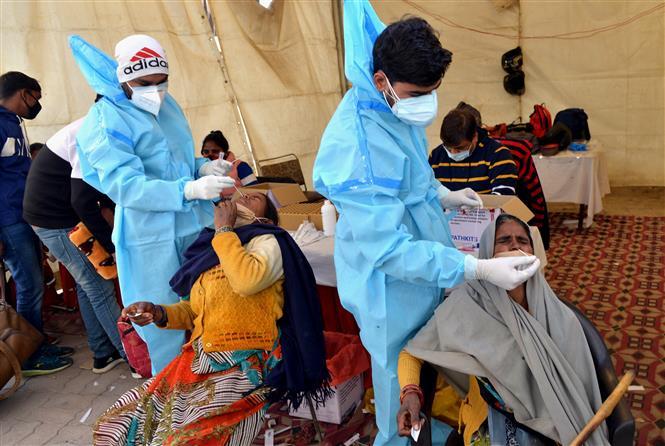 Nhân viên y tế lấy mẫu dịch xét nghiệm COVID-19 cho người dân tại Delhi, Ấn Độ, ngày 19-12-2020. Ảnh: THX/ TTXVN