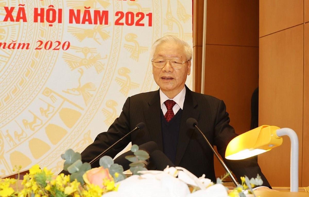 Tổng Bí thư, Chủ tịch nước Nguyễn Phú Trọng phát biểu tại Hội nghị. Ảnh: Trí Dũng/TTXVN