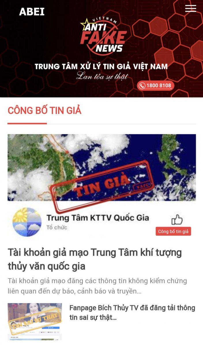 Giao diện website Trung tâm Xử lý tin giả Việt Nam.