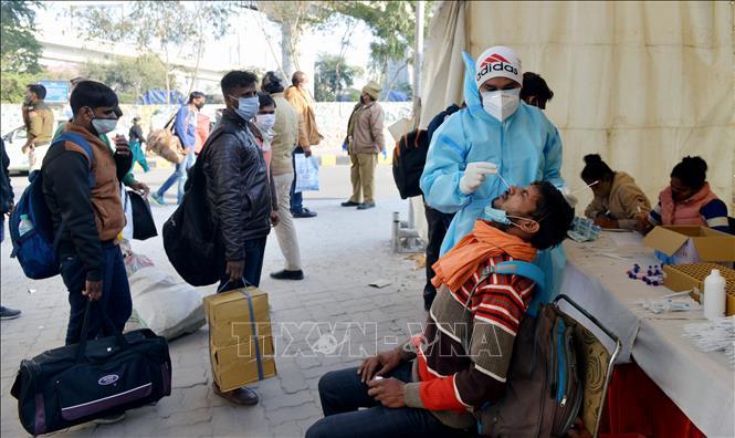 Nhân viên y tế lấy mẫu xét nghiệm COVID-19 cho người dân tại Delhi, Ấn Độ ngày 19-12-2020. Ảnh: THX/TTXVN