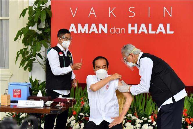 Tổng thống Indonesia Joko Widodo (giữa) được tiêm vaccine ngừa COVID-19 tại Jakarta, Indonesia ngày 13-1-2021. Ảnh: AFP/TTXVN